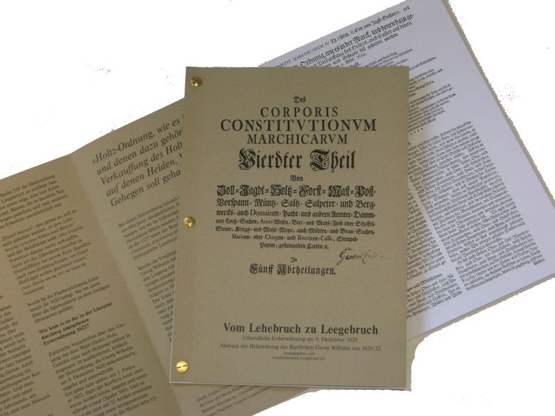 """Reprint der """"Holtzordnung"""" von 1622"""