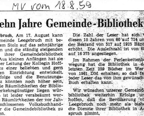 """""""Zehn Jahre Gemeinde-Bibliothek"""" Beitrag in der Märkischen Volksstimme vom 18. August 1959"""