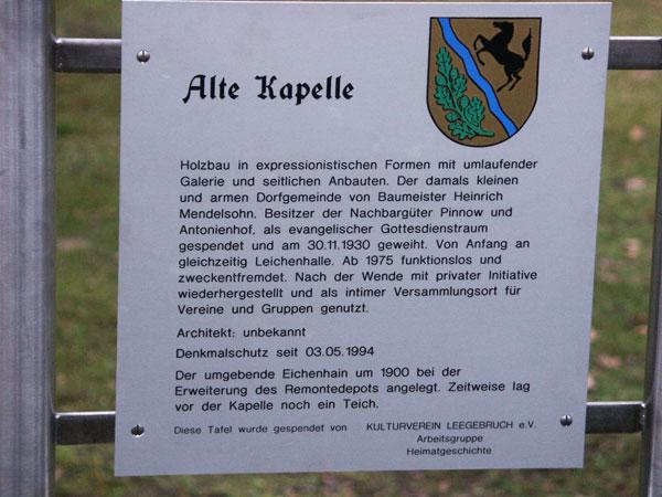 Infotafel Alte Kapelle