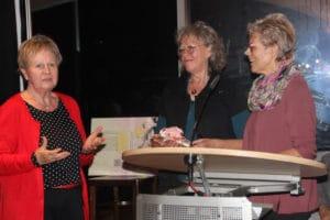 Ulrike Unger (in roter Jacke – links) vom Leegebrucher Geschichtsverein mit den beiden Herausgeberinnen, ihre Arbeit mit Präsenten würdigend (Foto: Liane Protzmann)