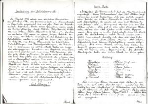 Protokoll der Gründung Musikkapelle Messer- schmiede 1951 (Quelle: Quelle: Leegebrucher historische Blätter, Heft 4 und Archiv Geschichtsverein)