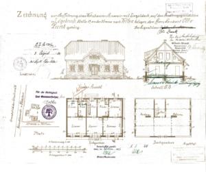 Bauzeichnung von 1924. Sie war Vorlage gleich für mehrere geplante Neubauten der Siedlerfamilien.