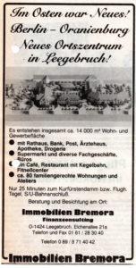 Mit solchen Anzeigen wurden ab 1990 die neuen Wohnungsangebote in Leegebruch beworben.